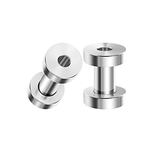 BIG GAUGES Pair of Polished Stainless Steel 6g Gauge 4mm Screw Flesh Tunnels Piercing Jewelry Ear Stretching Lobe Plugs Earring BG3790 -