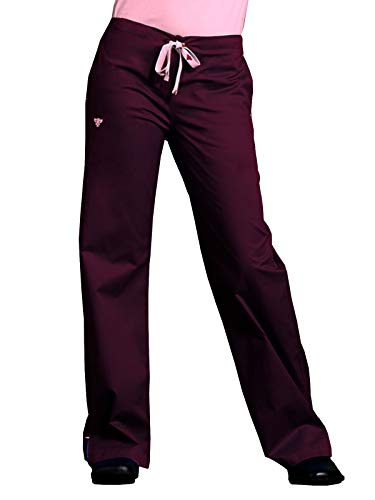 Med Couture Drawstring Signature Scrub Pants for Women, Wine/Powder Pink, Small Tall
