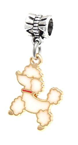 J&M Dangle White Poodle Charm Bead for Charms Bracelets