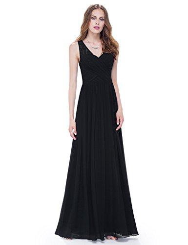 08871 Negro Elegantes de Noche Vestidos Pretty de en Cuello v Mujer con para Encaje Ever qOFwH4n6