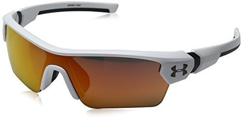 Under Armour UA Menace Wrap Sunglasses, UA Menace Satin White / Charcoal Frame / Gray / Orange Multiflection Lens, 58 - Express Mens Sunglasses