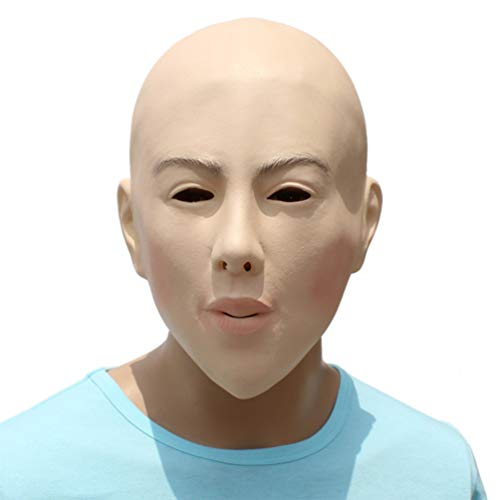 Novelty Funny Halloween Cosplay Costume Masquerade Party Latex Bald Woman Head Mask]()
