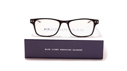 Phonetic Computer Eyewear -Ashton - FDA Registered, UVA/UVB Protection - Digital Eye Strain Prevention, Blue Light Blocking Eyeglasses | Comes with Customized Slip In Case and Cloth - size (136 Glasses)