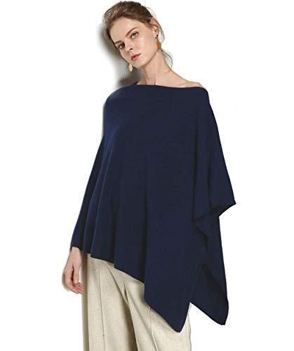 Pure Goat Cashmere Scarf Women Pashmina autumn winter 2018 Ponchos shawl navy blue (Navy Blue, Free Size)
