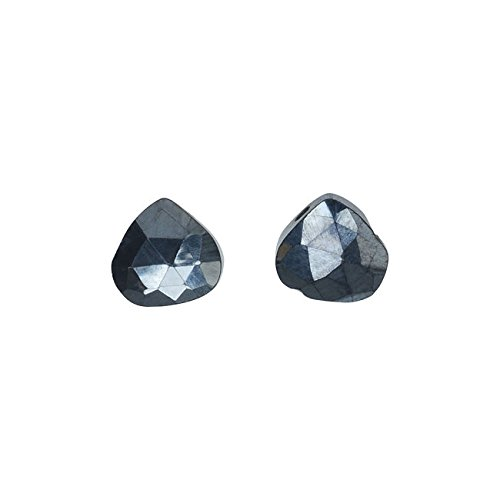 Hematite Gemstone Beads, Faceted Heart Briolettes 7-11mm, 6 Pieces, Metallic Black (Earrings Natural Stone Briolette)