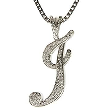 Assorted Letters, Chain Lengths GOLDEN MOON .925 Sterling Silver CZ Initial Letter Pendant Franco Necklace Set