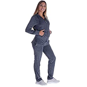 Urimoser Velour Tracksuit Womens Sports Solid Workout Zipper Hoodie and Jogger Pants 2 Pieces Sweatsuit Sets