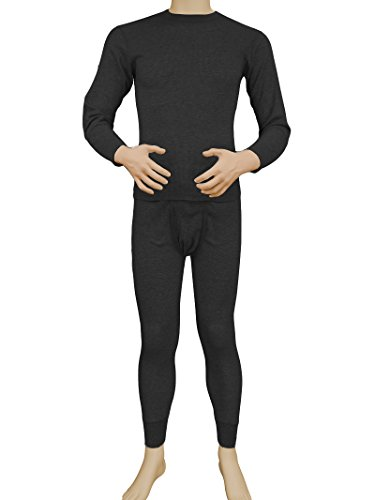 Men's 2pc Long Thermal Underwear Set (Charcoal, - Outlet Mens