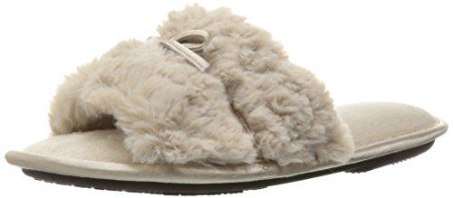 Isotoner Women's Textured Faux Fur Regina Slide Slipper, Stone, X-Large/9.5-10 M US