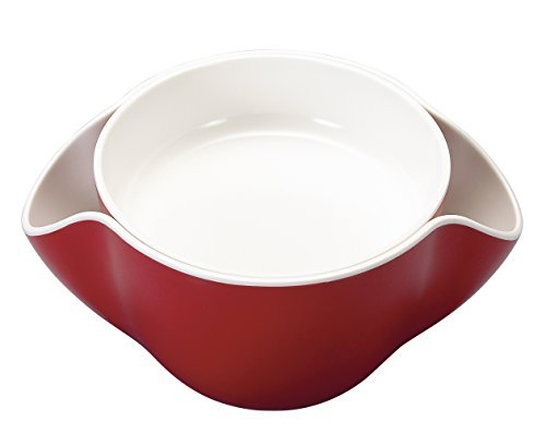 Kody Double Dish for Pistachios, Peanuts, Edamame, Cherries, Nuts, Fruits, Candies, Snacks Plastic Serving Dishes and Bowls (Cherry Red) (Candy Dish Shell)
