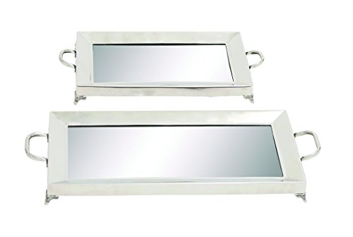 Benzara Sleek and Traditional Inspired Stainless Steel Mirror Tray, Set of 2 by Benzara