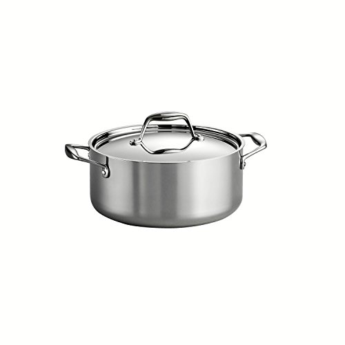 Tramontina 80116/025DS Gourmet Stainless Steel Induction-Ready Tri-Ply Clad Covered Dutch Oven, 5-Quart, NSF-Certified, Made in Brazil by Tramontina