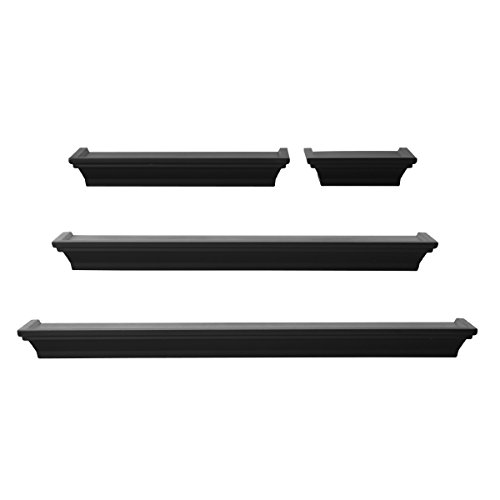 Melannco Floating Wall Mount Molding Ledge Shelves, Set of 4, Black