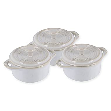 Staub Mini Round Cocottes in Ivory (Set of 3)