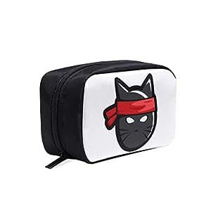 Amazon.com: Black Cool Ninja Cat Portable Travel Makeup ...