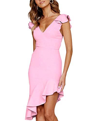 27ec1ee9b LANISEN Women Cap Sleeve Deep V Neck Midi Cocktail Dress Ruffled Bodycon  Evening Party Club Dress Pink L