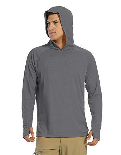 KEFITEVD Uv-shirt voor heren, UPF 50+, zonwering, lange mouwen, met capuchon, duimgat, sneldrogend, functioneel shirt…