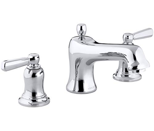 - Bancroft Bath Faucet Trim for Deck-Mount High-Flow Valve with Non-Diverter Spout and White Ceramic Lever Handles, Valve Not Included, Polished Chrome
