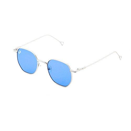 Azul sol Transparente hombre espejo TWIG BASQUIAT Plata de mujer Gafas 8nzq5a1