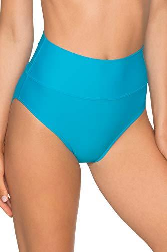 Sunsets Women's Fold Over High Waist Full Bikini Bottom Swimsuit, Poolside Blue, Large (Over Bikini)
