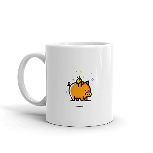 Icon Of Piggy Bank And Falling Coin Budget Or Money Savings Flat Filled Outline Style Pixel Perfect 64x64 Editable S Coffee Mug 11 Oz ()