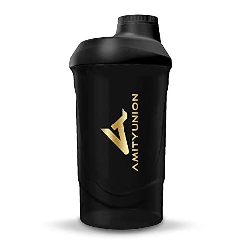 Shaker Deluxe - Proteína Shaker a prueba de fugas - BPA libre y con la escala tamiz de polvo de proteína de suero cremoso sacude (oro negro 800ml)