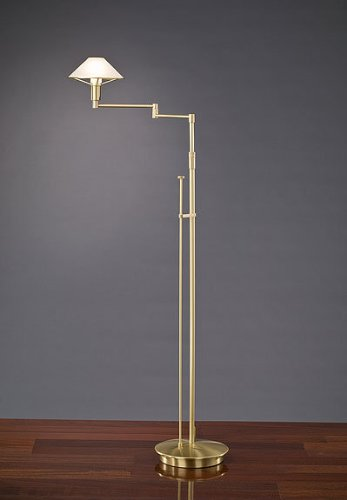 Brass Halogen Antique Arm Swing (Holtkoetter 9434 BB AWH Lighting for The Aging Eye Halogen Swing-Arm Floor Lamp, Brushed Brass with Alabaster White Glass)