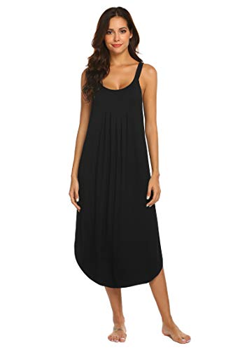 Ekouaer Loungewear Long Nightgown Women's Soft Nightshirt Full Length Sleepwear(Black S)