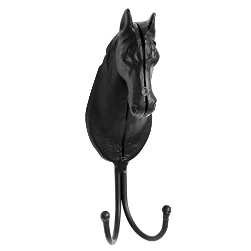 Decorative-2-Hook-Wall-Mounted-Black-Cast-Iron-Horse-Head-Design-Coat-Hanger-Rack-MyGift