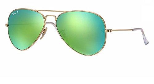 Ray Ban RB3025 112/P9 58M Matte Gold/ Polarized Green Mirror - Green Polarized Ban Mirror Ray Aviator