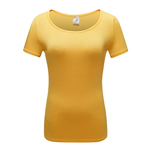 OThread & Co. Women's Short Sleeve T-Shirt Scoop Neck Basic Layer Spandex Shirts (Small, Yellow) -