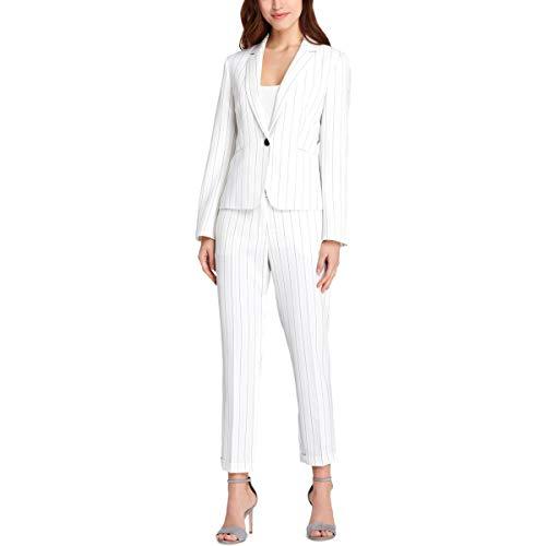 (Tahari ASL Womens Petites Pinstriped Professional Pant Suit Ivory 8P)