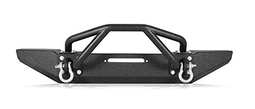 Span Black Textured Rock Crawler Offroad Spider Front Bumper w/Winch Mounting Plate & 2X D-Ring for 1997-2006 Jeep Wrangler TJ/YJ
