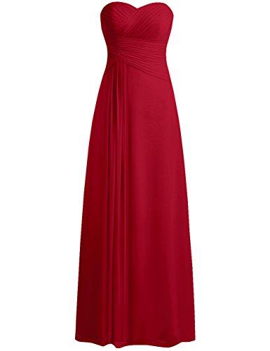 JAEDEN Bridesmaid Dress Prom Dresses Long Sweetheart Chiffon Evening Gown Pleat Strapless Burgundy L