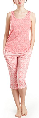 Butterfly Capri Set - Summer Pajamas for Women, Cute Print Capris Pajama for Woman - Pjs Women Jersey Tank Top and Capri Jogger Pants Set Butterfly S
