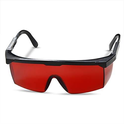 FreeMascot OD 4+ 190nm-550nm Wavelength Laser Safety Glasses for Typical 405nm, 445nm, 450nm,520nm,532nm Laser Light for Hair Removal Laser Treatment Eye Protection Goggles (Red) (Best Laser Hair Removal Equipment)