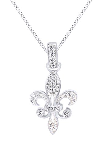 Jewel Zone US Diamond Fleur-de-Lis Pendant in 10K White Gold (1/5 cttw)