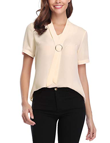 iClosam Women Casual Bow Tie Chiffon V-Neck Cuffed Sleeve Blouse Tops (Apricot, XX-Large)