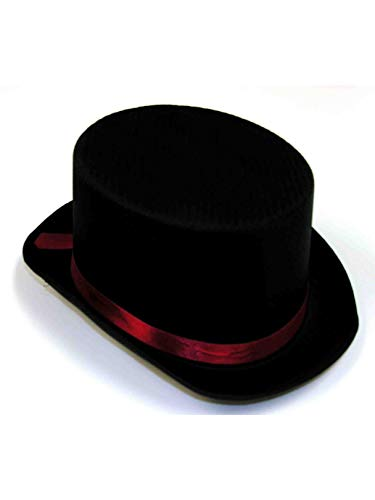 Black Satin Top Hat, Black / Red -