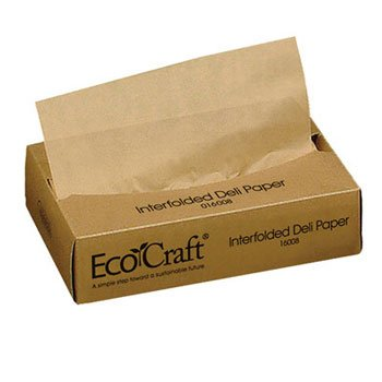Bagcraft Papercon EcoCraft Interfolded Soy Wax Deli Sheets, 8 x 10 3/4, 500/Box - 12 boxes of 500 sheets each.