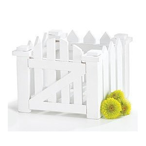 White Wood Picket Fence Planter For Home Decor,Wedding Decor