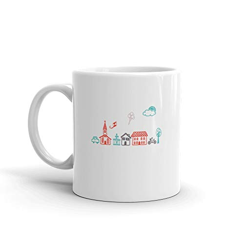 lage Town Country Life Water Mug Ceramic Cup 11 Oz ()
