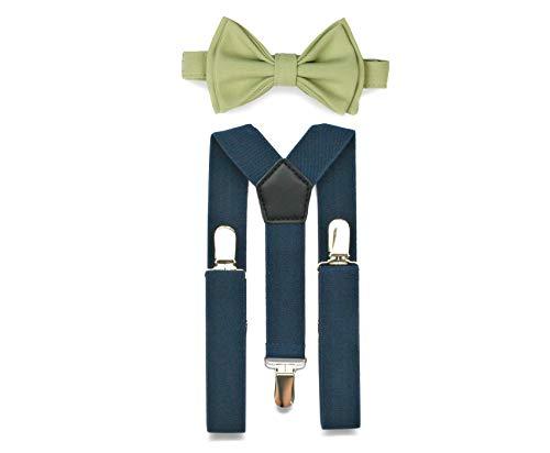 Navy Suspenders Bow Tie Set for Baby Toddler Boy Teen Men (2. Toddler (18 mo - 6 yrs), Navy Suspenders, Sage Bow Tie)
