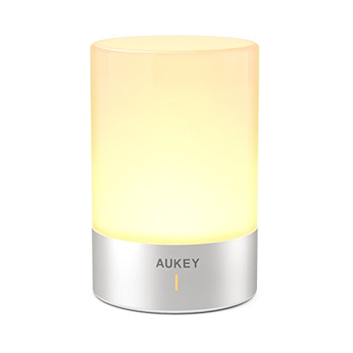 AUKEY Rechargeable Table Lamp, Bedside Lamp with Dimmable Warm White Light & Color Changing RGB, Touch Lamp for Bedrooms