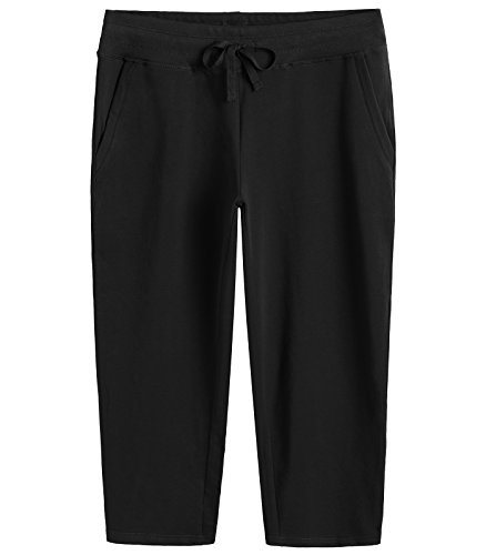 Weintee Women's Cotton Capri Pants with Pockets XL (Cropped Womens Sweatpants)