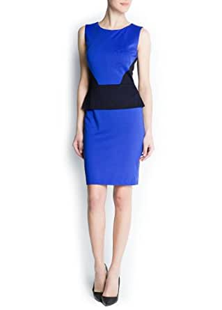 Mango Women's Contrast Panels Peplum Dress