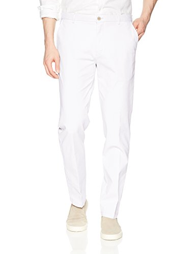 IZOD Men's Performance Stretch Straight Fit Flat Front Chino Pant, Bright White, 33W X 29L Mens White Slacks