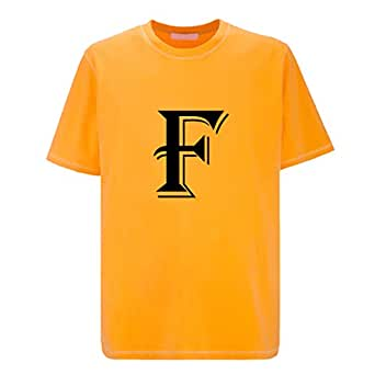 IMPRESS Yellow Polyester T Shirt with Algerian Letter F Design