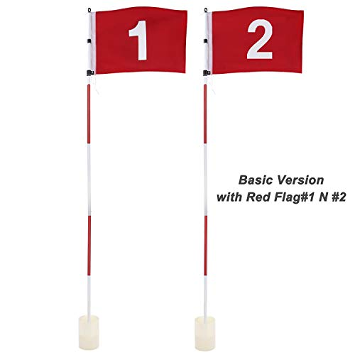 KINGTOP Golf Flag Stick, Practice Putting Green Flagstick Hole Cup Set, Golf Pin Flags for Driving Range/Backyard, Indoor/Outdoor, 5-Section Design, Solid Red Flag Numbered #1, 2, Both 71-inch, 2-Set (Course Own Golf Mini)