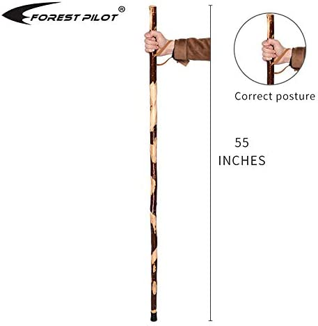 Nature Color, 55 Inches, 1 Piece FOREST PILOT Bark-Keeping Clumpy Pattern Wooden Walking Stick with a Compass